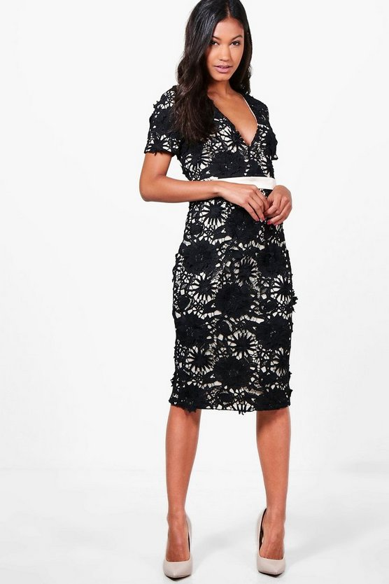 Boutique Floral Applique Midi Dress
