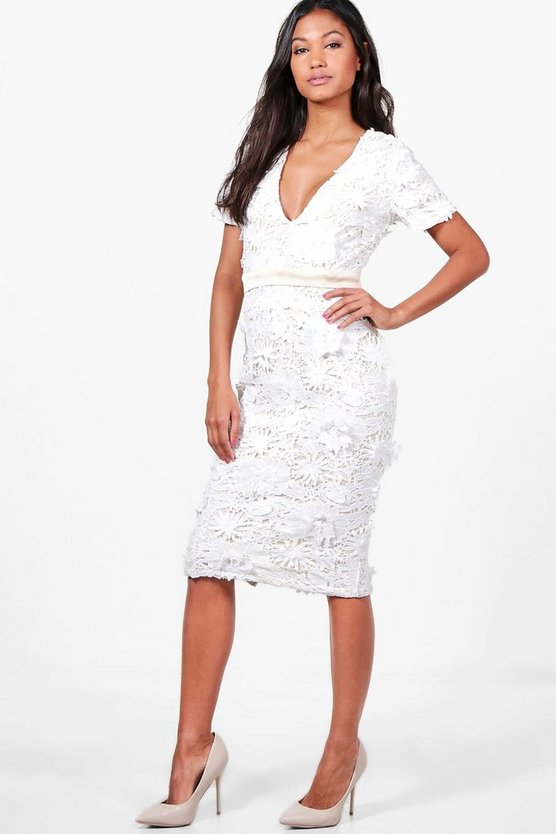 Boutique Jasmine Floral Applique Midi Dress