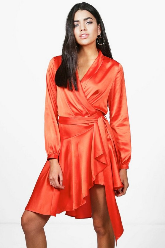 Boutique Alice Satin Wrap Skater Dress