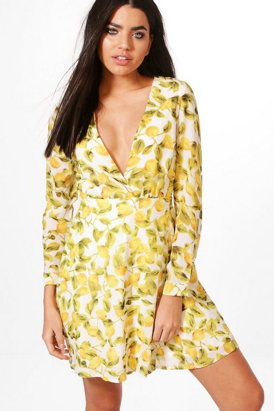 Lemon Print Wrap Dress