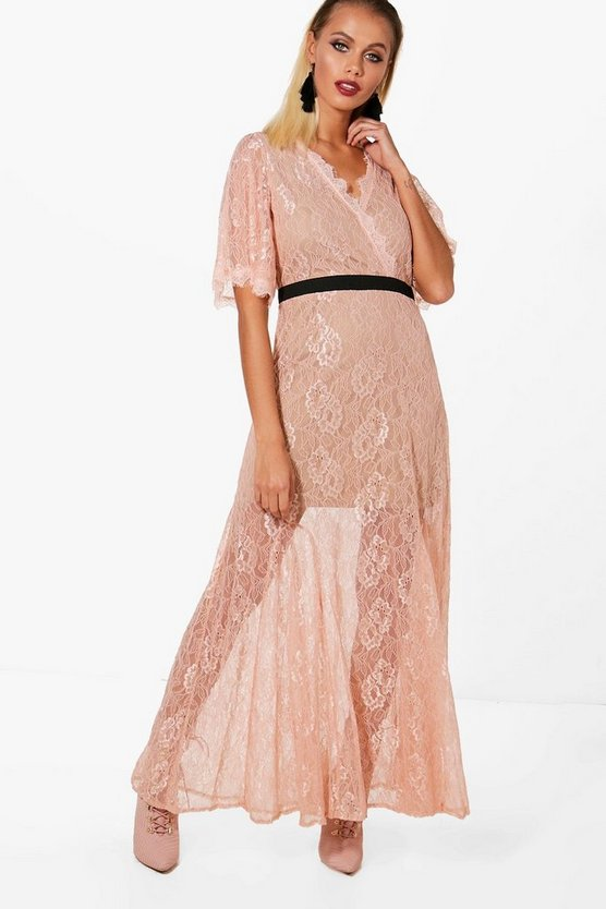 Boutique May Lace Angel Sleeve Maxi Dress