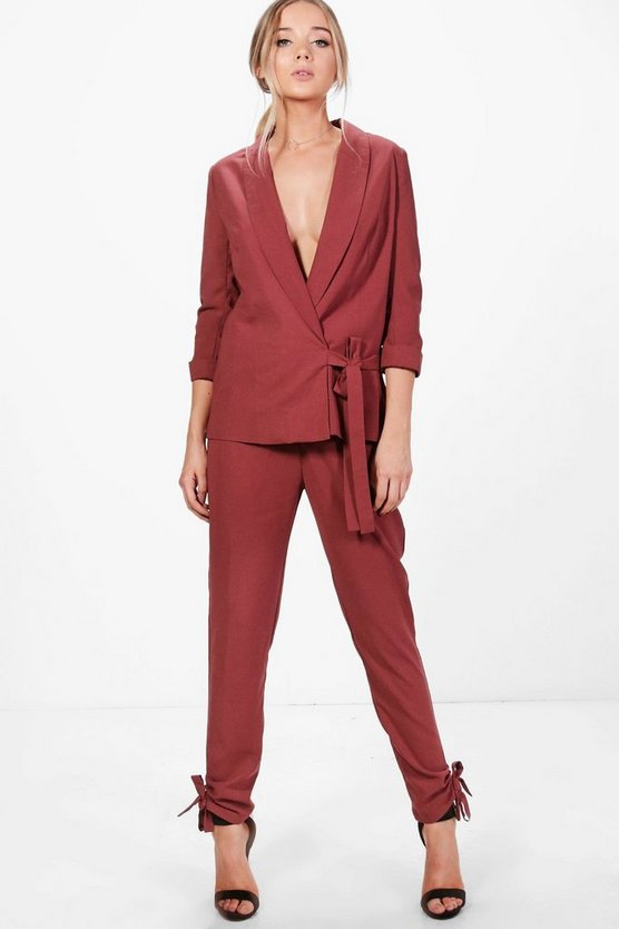 Saskia Side Tie Hem Tailored Woven Trouser