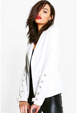Rebecca Lace Up Sleeve Woven Lined Blazer