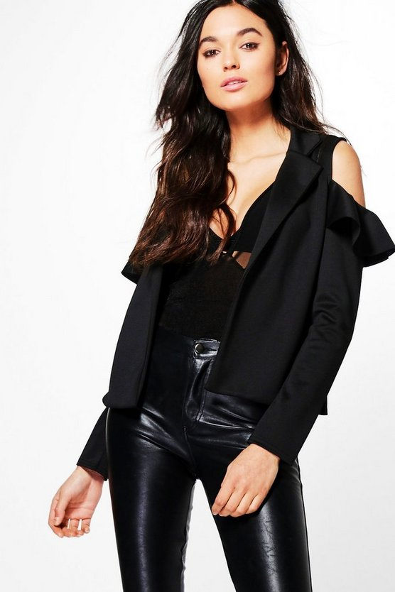 Vanessa Cold Shoulder Ruffle Blazer