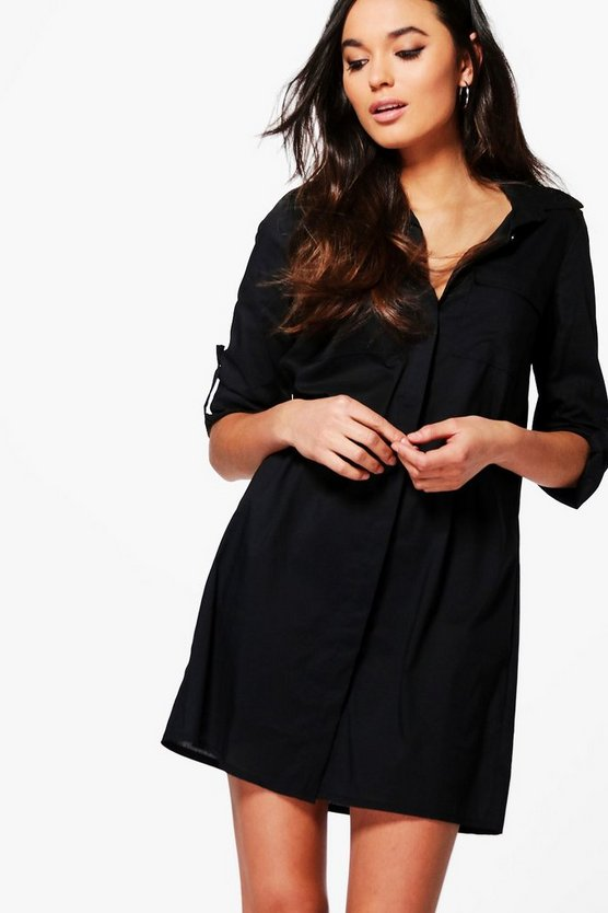 Maia Cotton Shirt Dress With Pockets