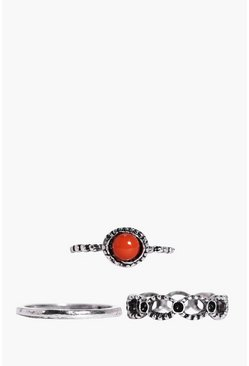 Jessica Mixed Red Stone Stack 3 Ring Pack