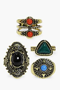 Olivia Mixed Stone Gold 4 Ring Pack