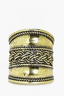 Sophie Plait Detail Boho Statement Ring
