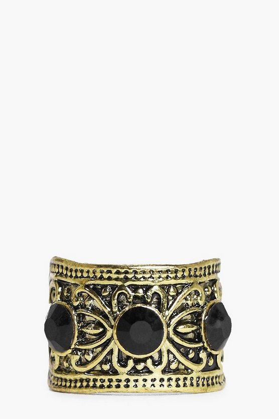 Emily 3 Stone Boho Antique Look Ring