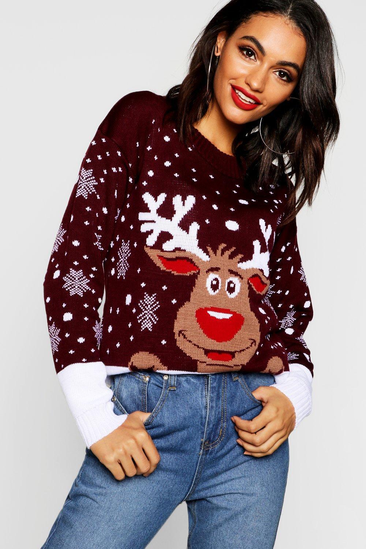 Womens Weihnachtspullover mit Rentiermotiv - Weinrot - s/m, Weinrot - Boohoo.com