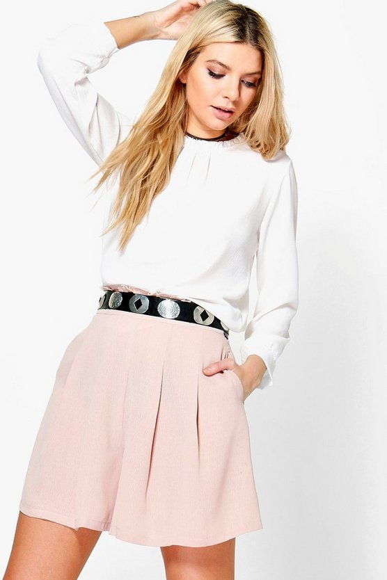 Angela Ruffle Waist Pleated Shorts
