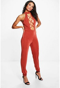 Claire High Neck Cross Detail Jumpsuit