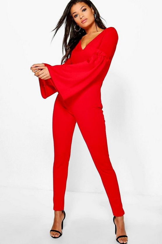 Jacey Flare Sleeve Ruffle Detail Jumpsuit