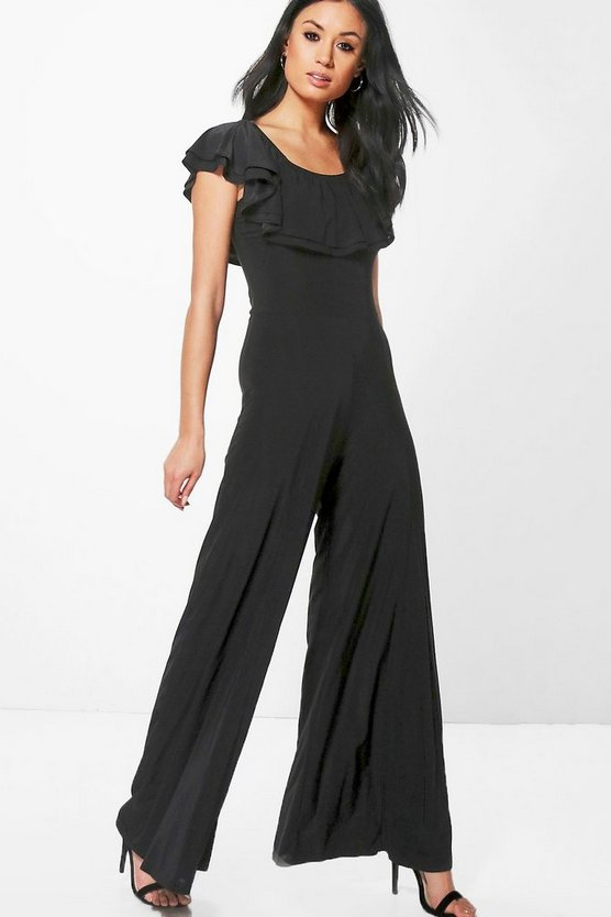Amy Double Layer Off The Shoulder Wide Leg Jumpsuit