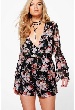 Jess Wrap Front Ruffle Sleeve Floral Playsuit