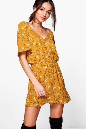 Louise Cold Shoulder Ruffle Floral Playsuit