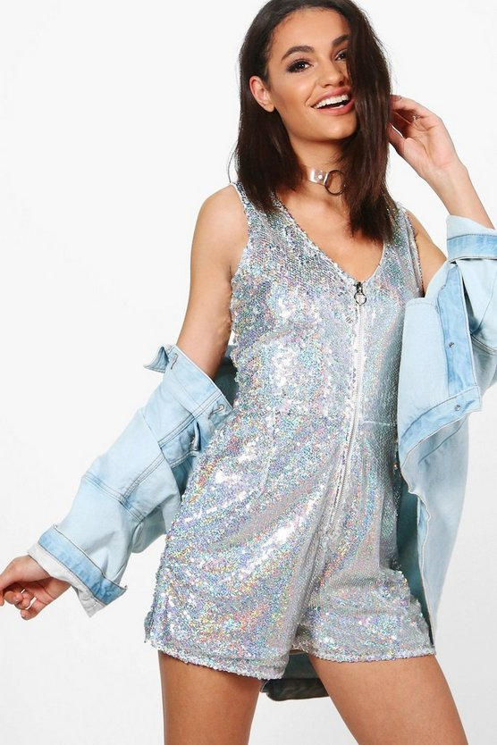 Boutique Hologram Sequin Zip Through Playsuit