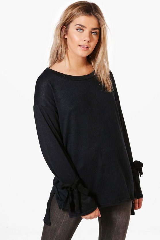 Freya Tie Sleeve Soft Marl Jumper