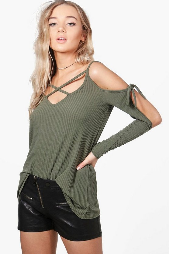 Jasmine Strappy Cold Shoulder Rib Knit Jumper