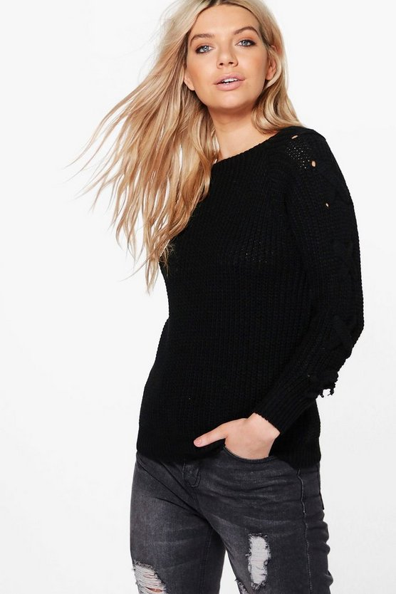 Niamh Lace Up Sleeve Jumper