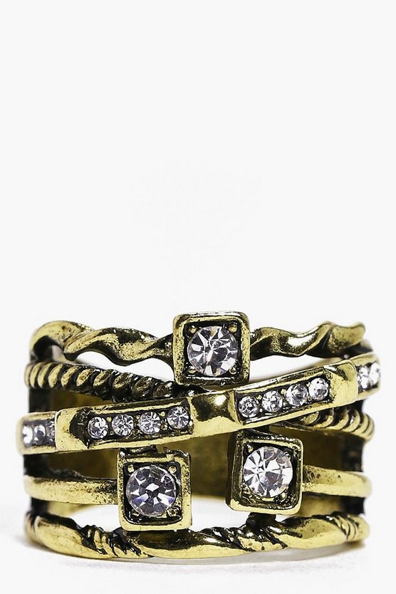 Leah Mixed Design Diamante Ring