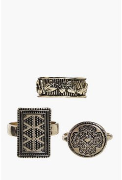 Gabriella Engraved Chunky Gold Ring 3 Pack