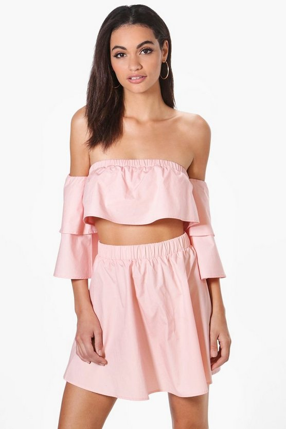Beth Off The Shoulder Woven Mini Skirt Co-Ord