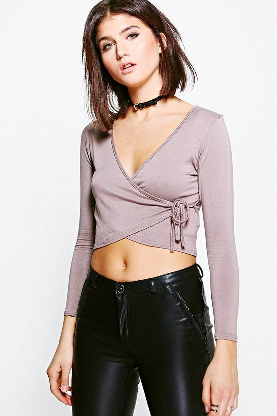 Louise Long Sleeve Wrap Front Top