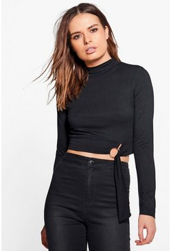 Leah D Ring Long Sleeve High Neck Crop