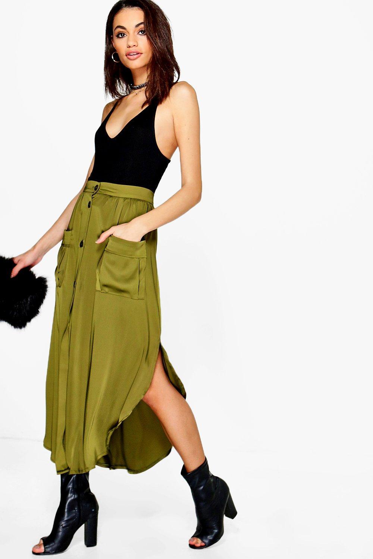 Pocket Side Satin Woven Maxi Skirt  khaki