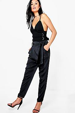 Lillia Satin Tie Waist Slim Fit Trousers
