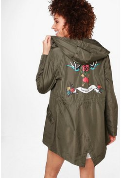Phoebe Hooded Fishtail Back Print Mac