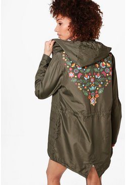 Eliza Hooded Mac With Back Floral Print