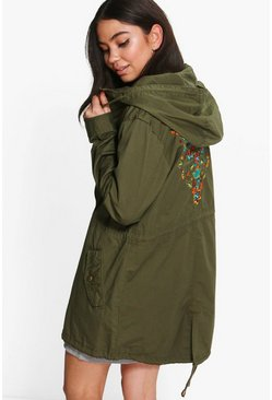 Keira Hooded Parka With Back Embroidery