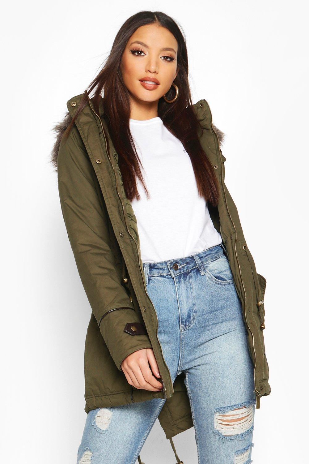 Nicole Parka With Faux Fur Trim Hood | Boohoo