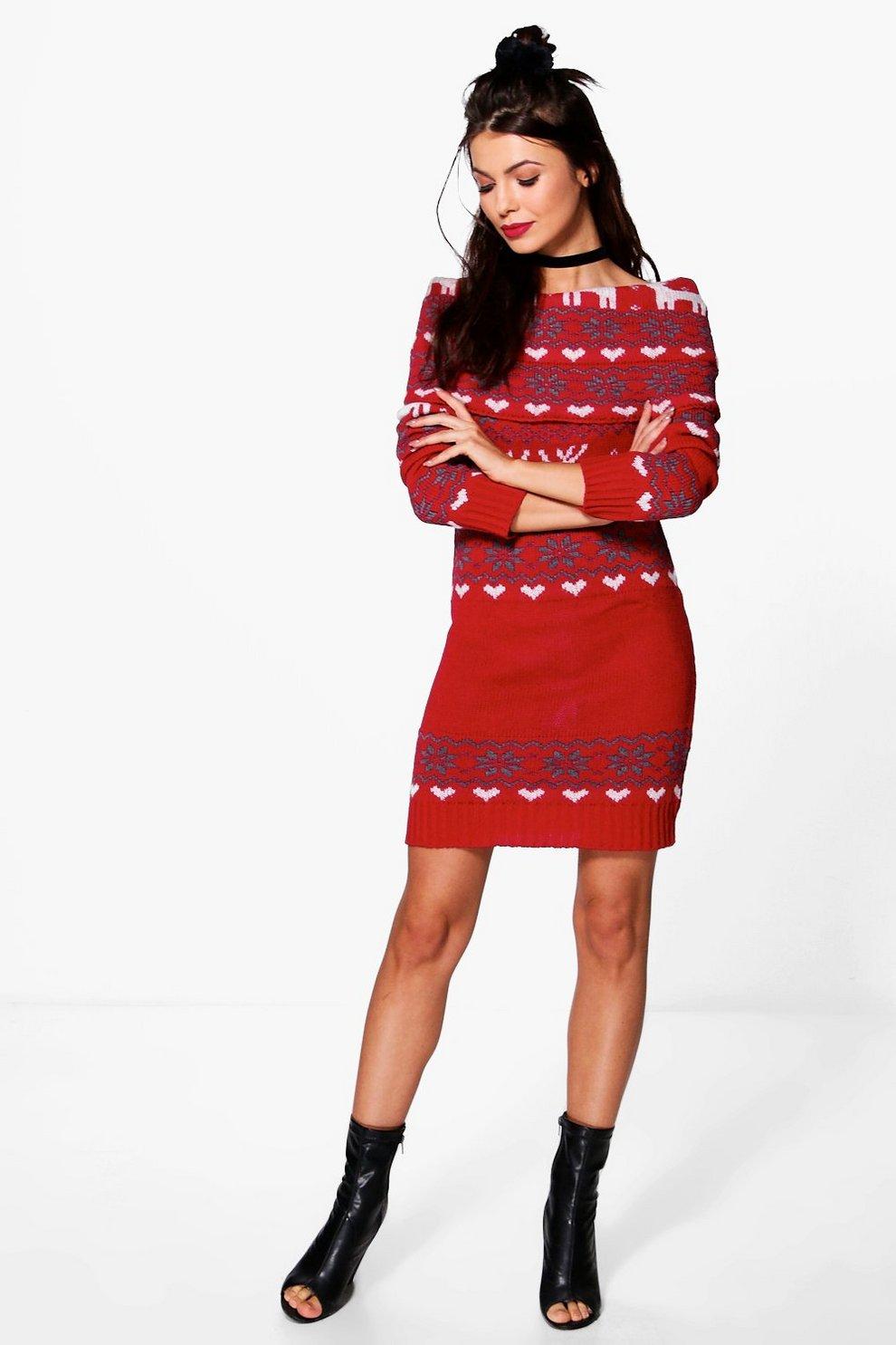 Isabelle Reindeer Fairisle Christmas Jumper Dress | Boohoo