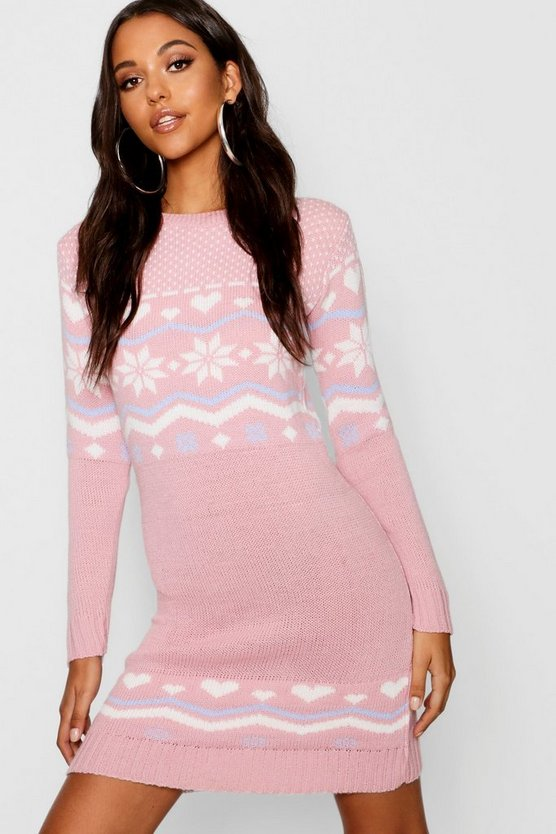 Freya Heart Fairisle Christmas Jumper Dress