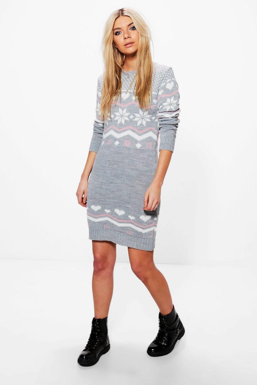 Freya Heart Fairisle Christmas Jumper Dress | Boohoo