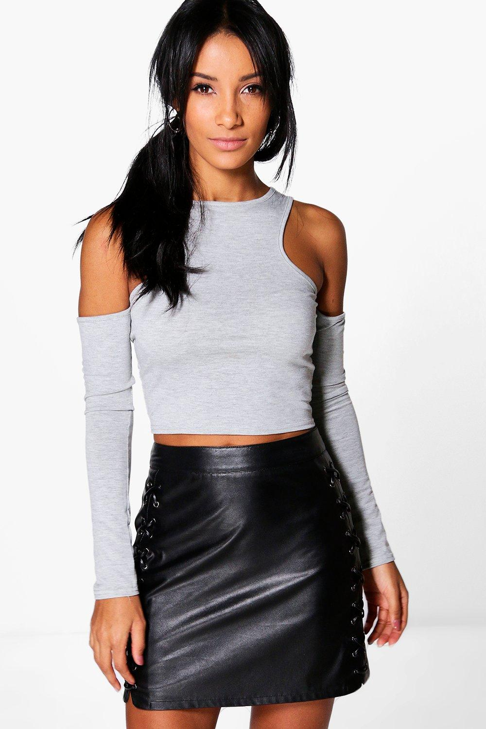 Asia Cut Out Shoulder Crop Top
