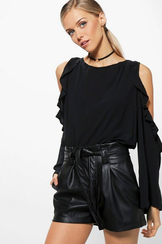 Olivia Oversized Ruffle Woven Cold Shoulder Top