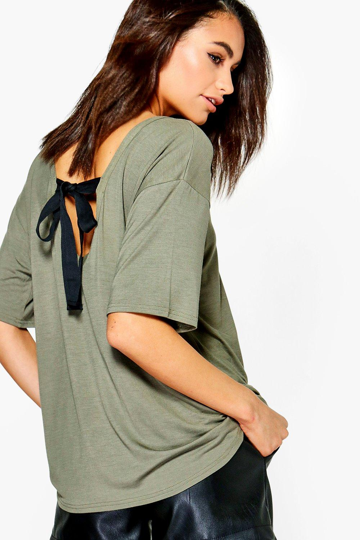 Tie Back Oversized TShirt  khaki