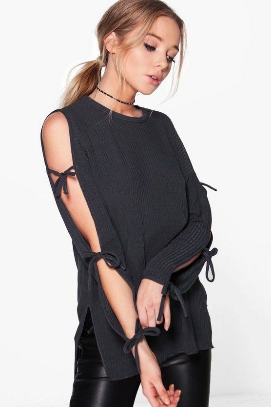 Sophie Soft Rib Oversized Tie Sleeve Top
