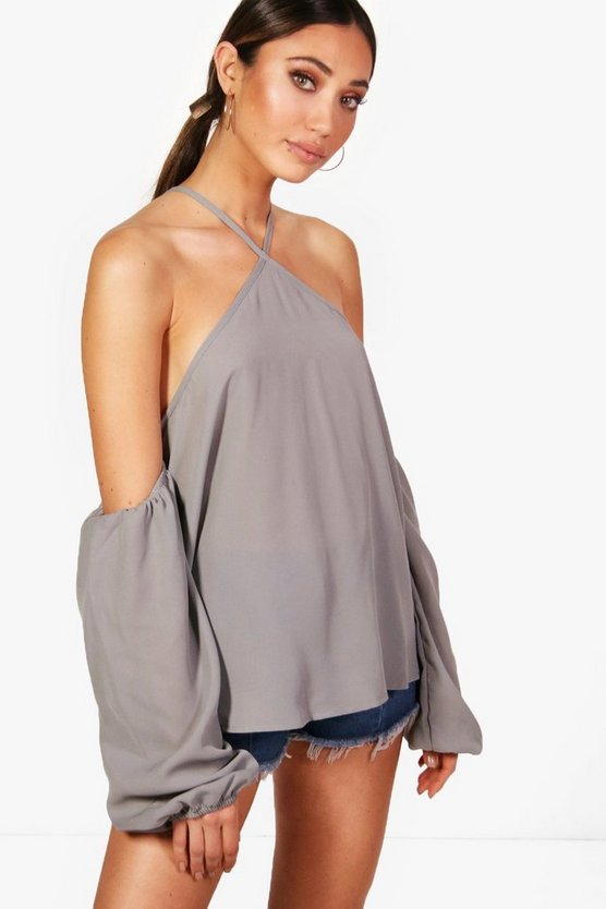 April Woven Tie Neck Cold Shoulder Top