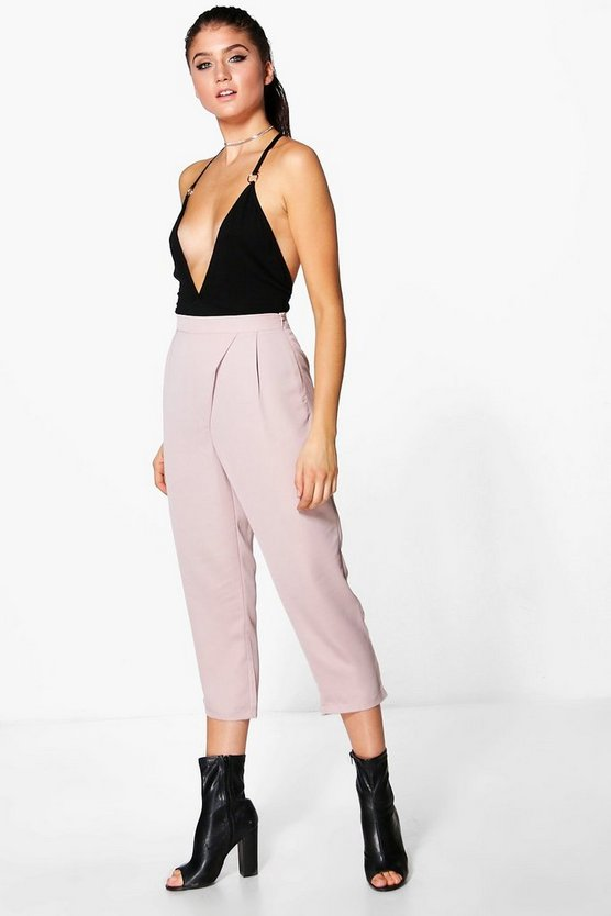 Neve Wrap Front Textured Matte Satin Trousers