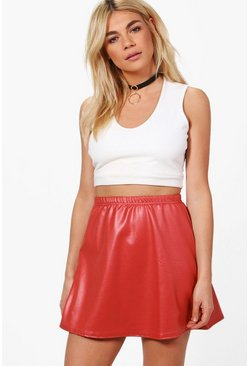 Gigi Wet Look Scuba A Line Mini Skirt