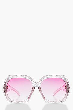 Lacey Glitter Clear Frame Oversized Sunglasses