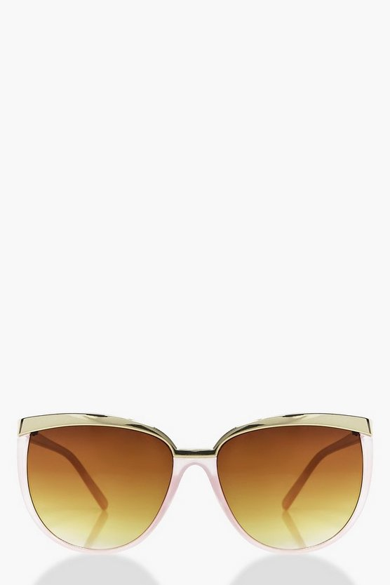 Abigail Metal Brow Pink Cat Eye Sunglasses