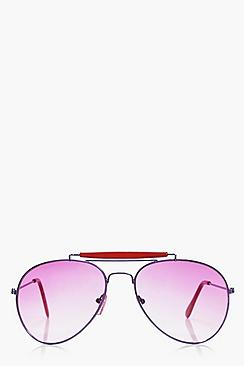 Millie Contrast Trim Aviator Sunglasses