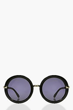Lola Black Round Sunglasses