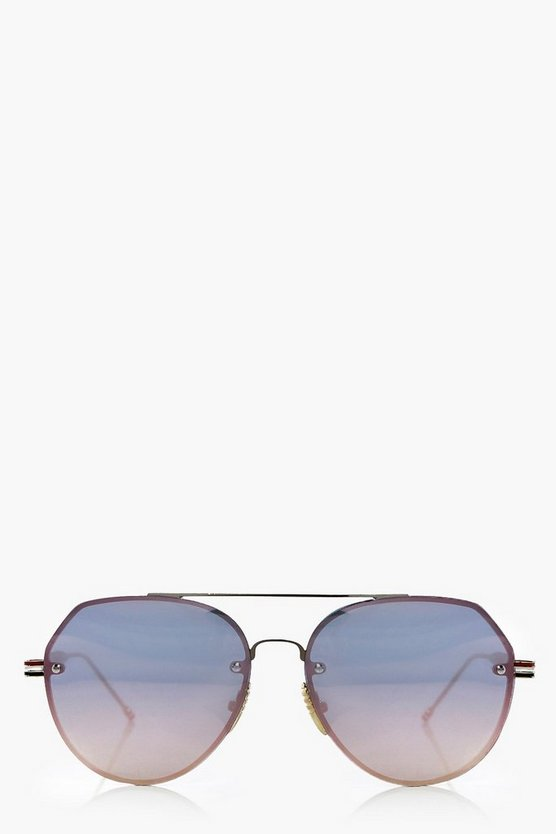 Keira Flat Lense Aviator Fashion Glasses